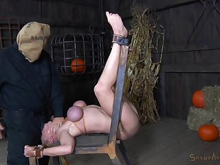 Bondage maiden big tits fondled and tied with rope in BDSM