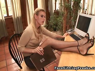 Sexy blonde with nice long legs gives a gorgeous footjob for her lovely boss