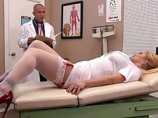 Stunning doctor Mick Blue is penetrating hot nurse Shyla Stylez in her tight hole on the bench