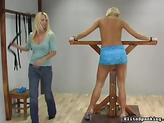 Adorable and hot head master with huge whip is spanking her angels back in the room
