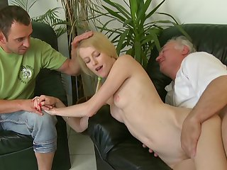 Hot as hell blonde with shaved pussy Ginger is getting drilled in her lovely snatch with force