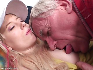 Cute blonde coed sits her pussy on grandpa cock
