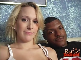 Pregnant interracial fuck with a big facial in her eye