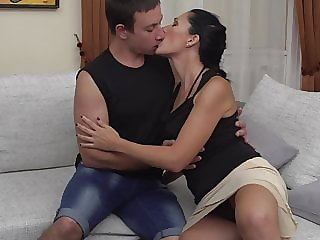 Mom Giorgia suck and fuck lucky son