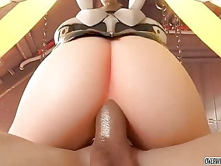 Pharah sucking balls and Mercy taking big dick