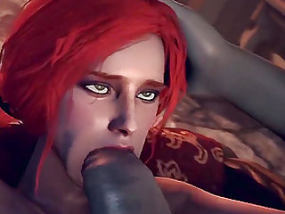 Big tits babe named Triss enjoying hard ass pounding from grey man and aliens