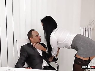 Hot babe at the office gets plowed hard