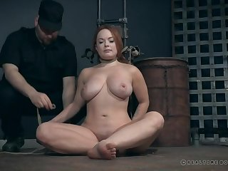 Nipple pain makes a curvy redhead moan