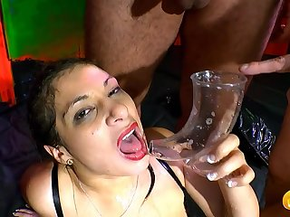 Piss drinking German girl in a hot gangbang