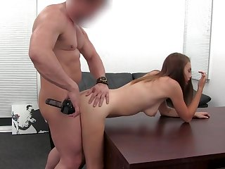 First anal for a girl on a desk causes some pain