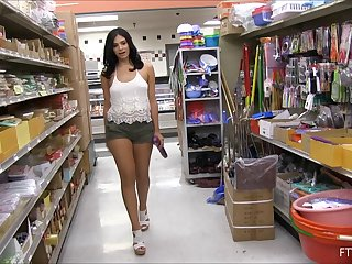 Curvaceous stunner with big tits strips down in a shop