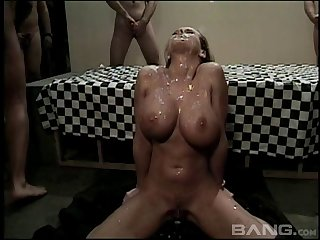 Beautiful cum slut on her knees for the finest bukkake