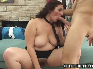 Chubby milf Sonia Glaze sucks a cock and takes it in her hairy pussy